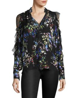 Elana Floral Silk Cold Shoulder Top
