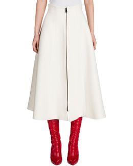 Wool & Silk Gazar Zip-up Midi Skirt