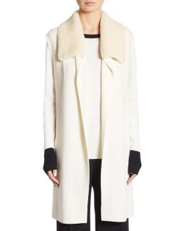 Draped Wool Fur Vest