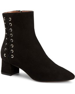 Polina Lace-up Suede Booties