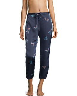 Floral And Butterfly Print Pajama Pants