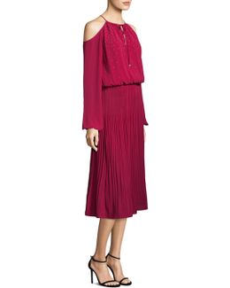 Embellished Cold-shoulder Boot Dress