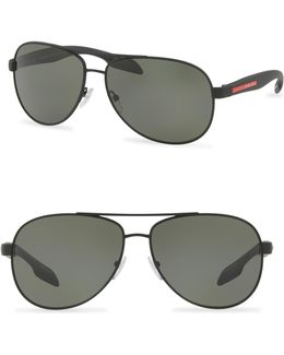 62mm Aviator Sunglasses