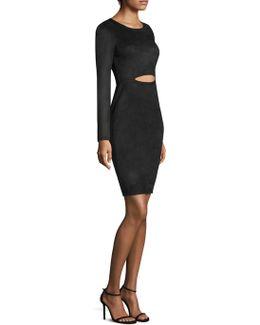 Faux Suede Cutout Dress