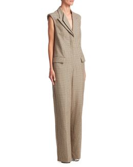 Checked Wool Jumpsuit