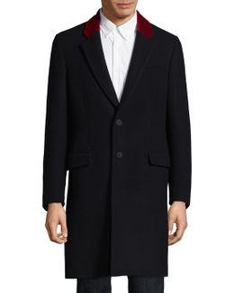 Contrast Lapel Wool Coat