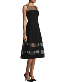 Mesh-accented A-line Dress