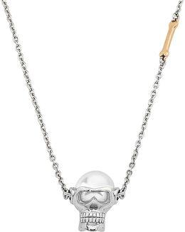 10mm White Round Pearl & Stainless Steel Skull Pendant Choker