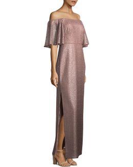 Off-shoulder Metallic Gown
