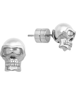 8mm White Round Pearl Skull Stud Earrings
