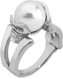 10mm White Round Pearl & Stainless Steel Ring