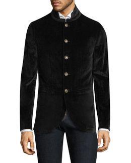 Stand Collar Velvet Jacket