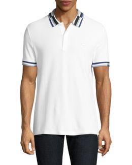 Short-sleeve Striped Cotton Polo