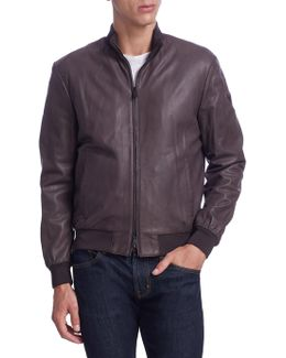 Zip-up Leather Short Bomber