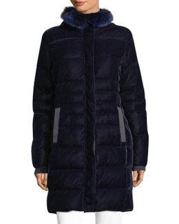 Roberta Fox Fur Trim Quilted Coat