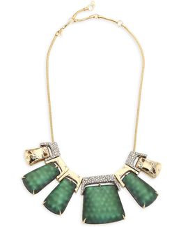 Lucite Rocky Metal Bib Necklace