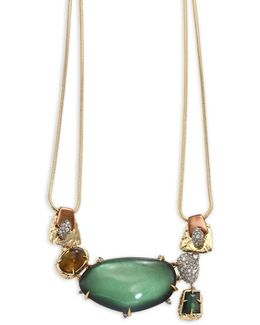 Lucite Stone Bib Buckle-detail Necklace
