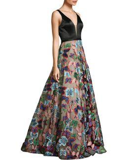 V-neck Butterfly Skirt Gown