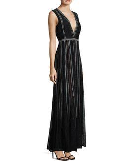 Deep V Floor-length Gown