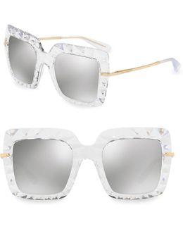 51mm Mirrored Square Sunglasses