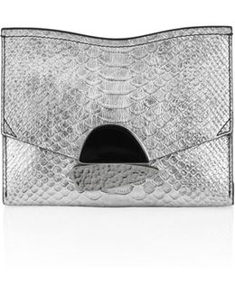 Small Curl Metallic Python-embossed Leather Clutch