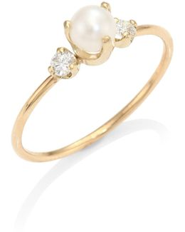 Diamond & 4mm White Pearl Ring