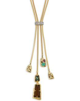 Semi-precious Multi-stone Lariat Necklace