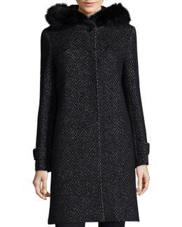 Tweed Fox Fur Coat