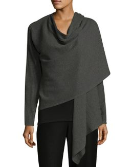 Angle Front Wool Wrap Cardigan