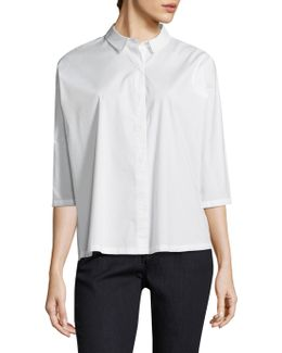 Classic Collar Crop Button-down Shirt