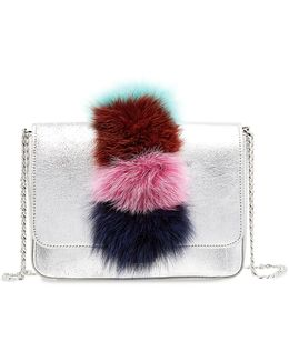 Lock Fox Fur Trimmed Leather Shoulder Bag
