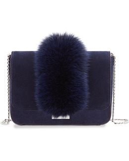 Lock Fox Fur Trimmed Suede Shoulder Bag