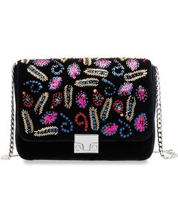 Lock Velvet Shoulder Bag