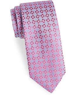 Embroidered Flower Silk Tie