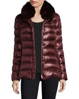 Fox Fur & Nylon Puffer Jacket