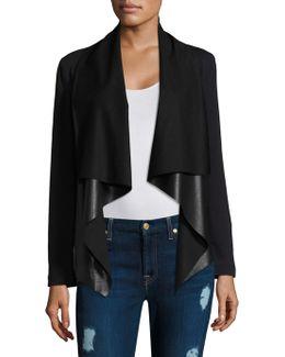 Faux Leather Draped Jacket