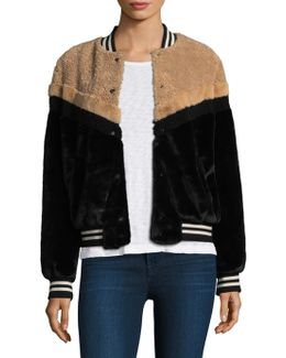 Mixed Faux Fur Bomber Jacket