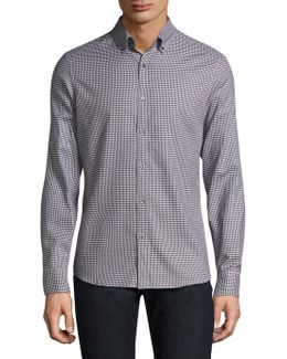 Checkered Casual Button-down Shirt