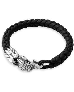 Eagle Leather And Sterling Silver Bracelet