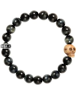Tiger Eye Sterling Silver Skull Beaded Bracelet