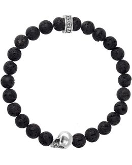 Lava Rock Sterling Silver Skull Beaded Bracelet