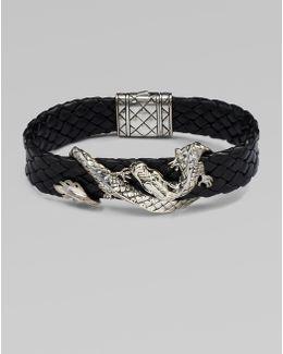 Silver Dragon & Leather Bracelet/brown
