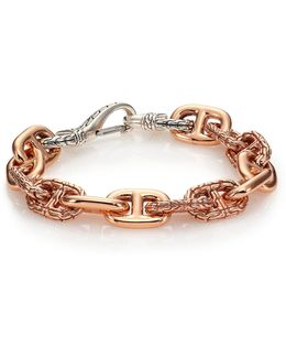 Classic Chain Sterling Silver & Bronze Link Bracelet