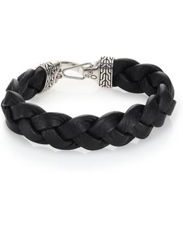 Classic Chain Sterling Silver & Leather Braided Hook Bracelet