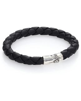 Bamboo Woven Leather And Sterling Silver Bracelet