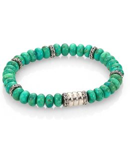 Batu Bedeg Sterling Silver Bracelet/mohave Green Turquoise