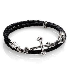 Cross Double-wrap Leather Bracelet