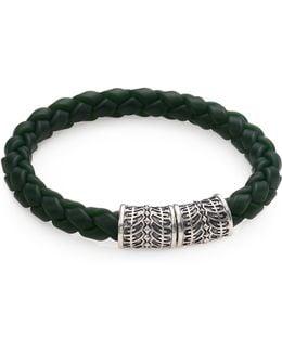 Sterling Silver & Woven Rubber Bracelet