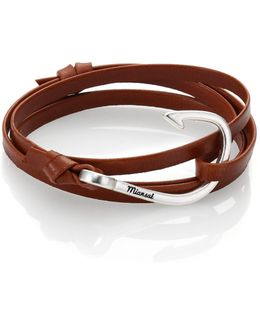 Silver Tone Hook Leather Bracelet