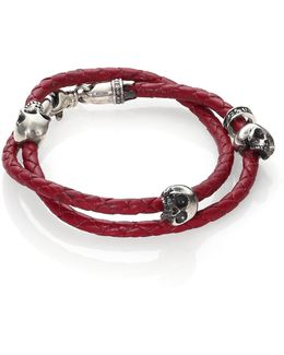 Thin-braided Double Wrap Leather Bracelet